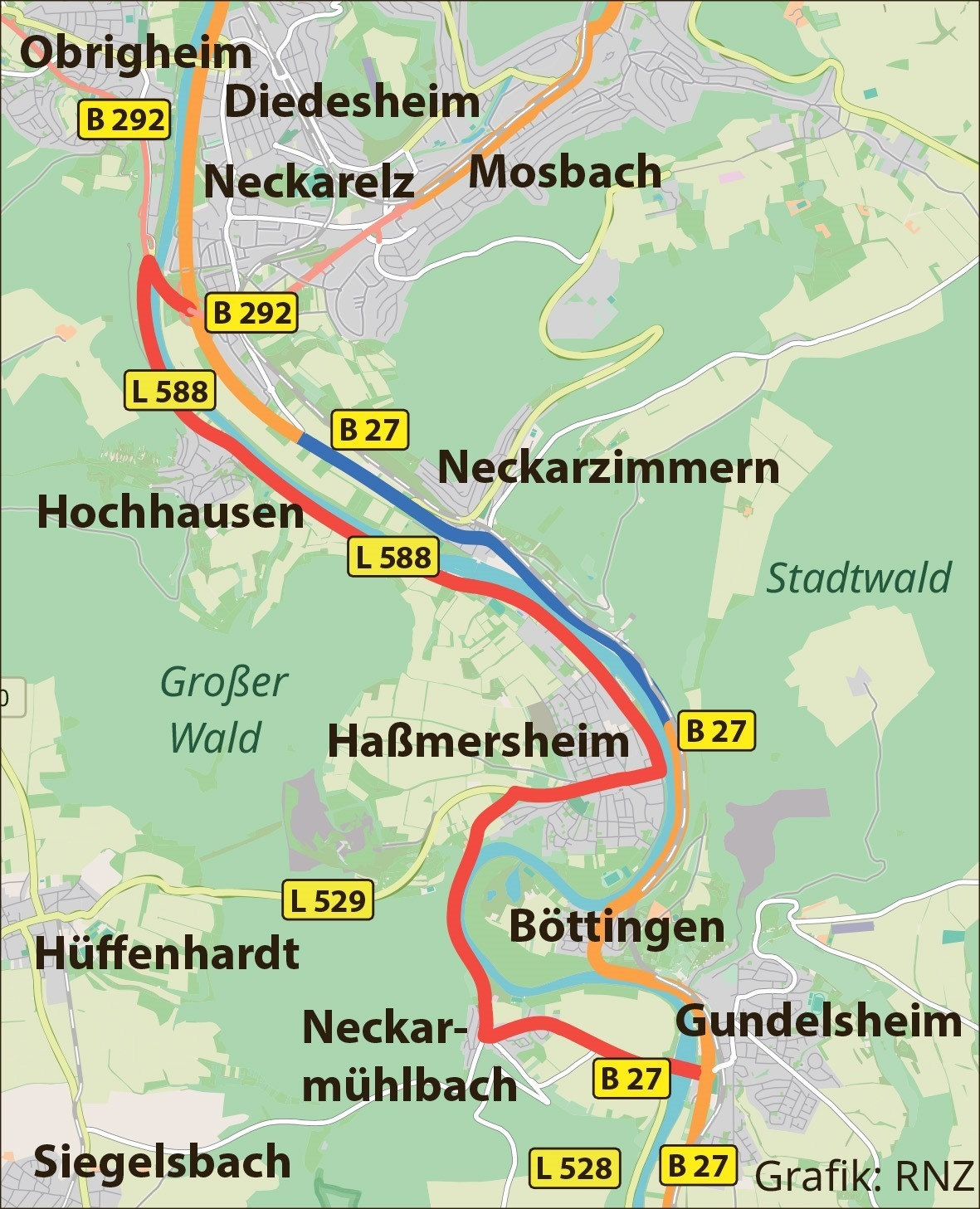 Bundesstraße 27 zwischen Neckarzimmern und Mosbach vorübergehend gesperrt